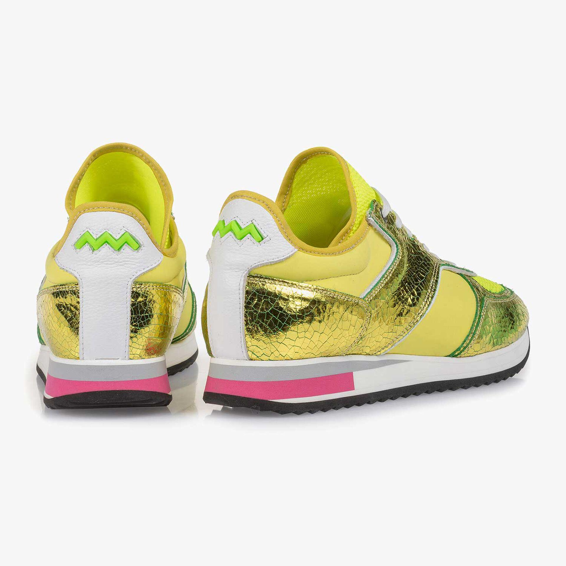 Gelber Metallic Leder-Sneaker mit changierendem Effekt