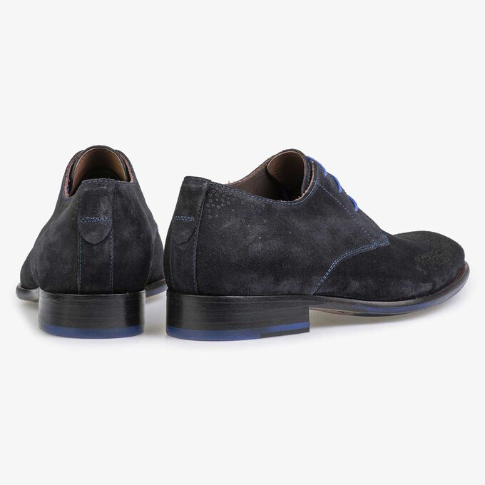 Blue suede leather shoe with brogue perforations