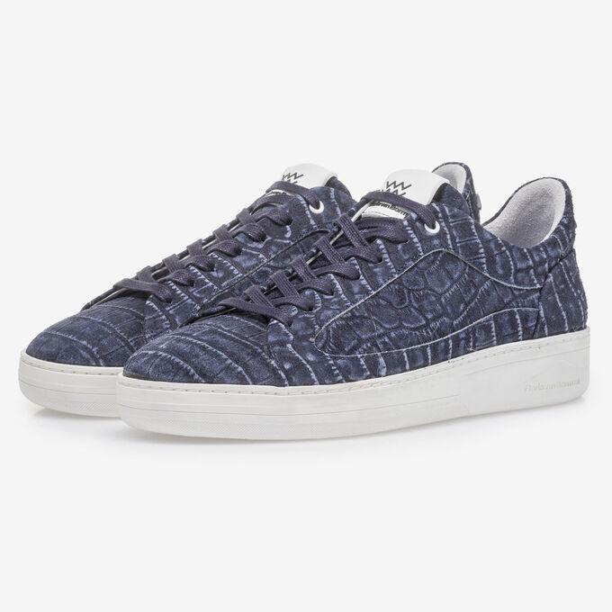 Dark blue sneaker with croco print