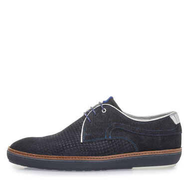 Suede leather, patterned lace shoe