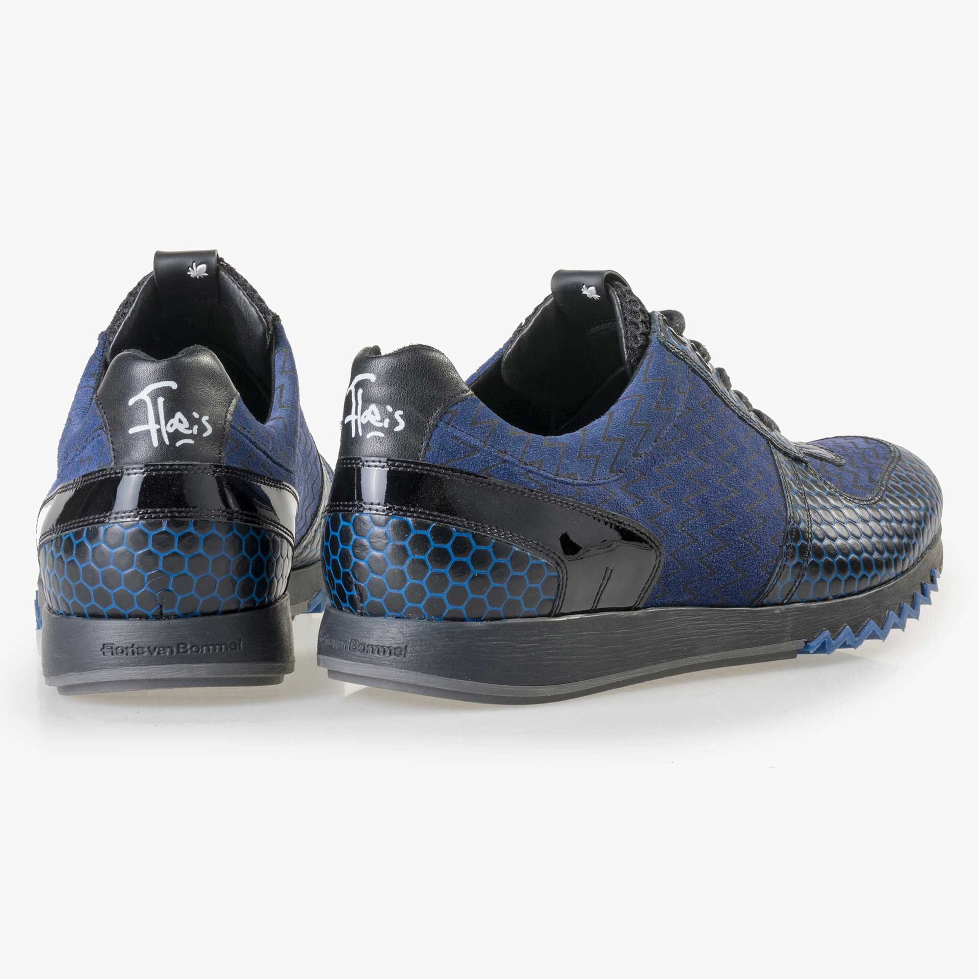 Floris van Bommel blauer Herren Leder Sneaker