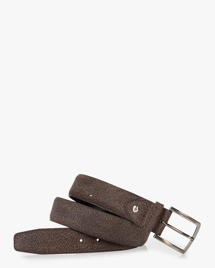 Belt printed leather brown