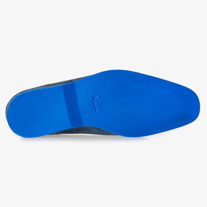 Blauer Rauwildleder-Schnürstiefel
