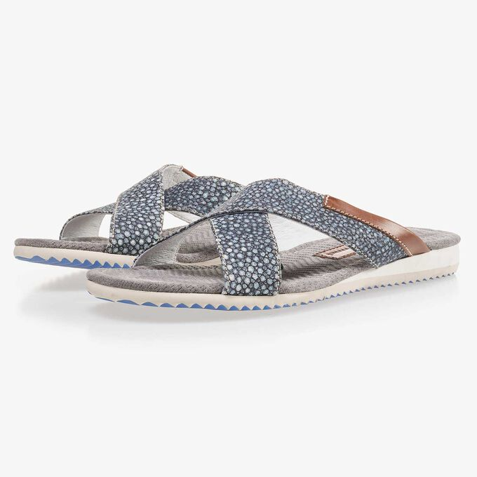 Blue, printed leather slipper with cross straps