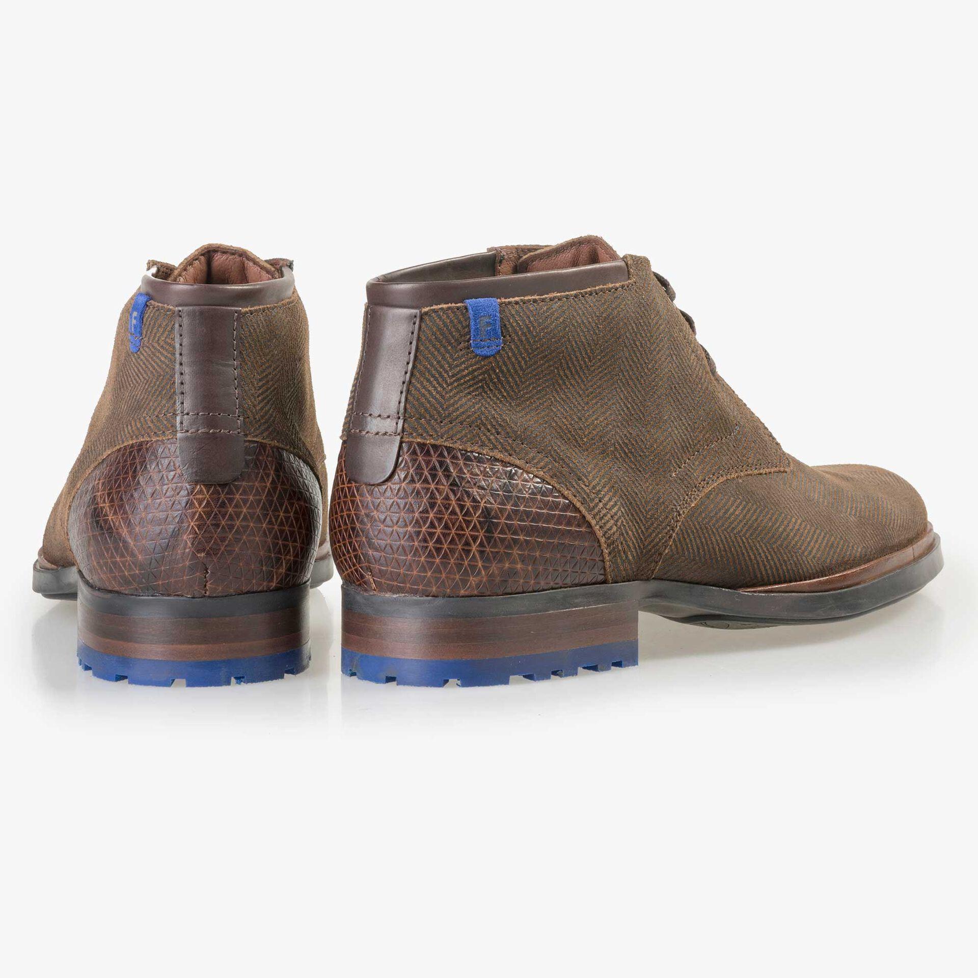 Floris van Bommel men's brown suede leather lace boot