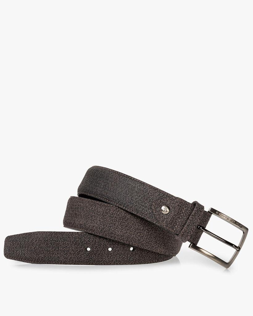 Belt printed leather dark grey