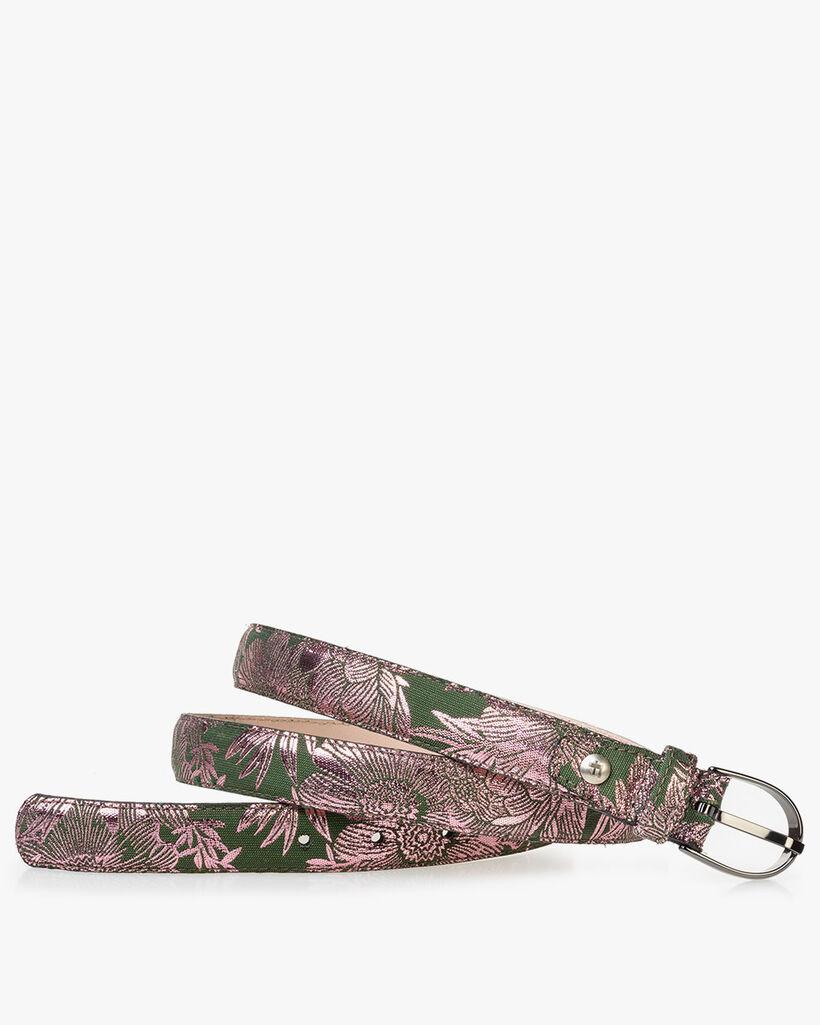Women's belt green with pink print