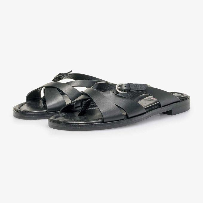 Schwarzer Leder-Slipper