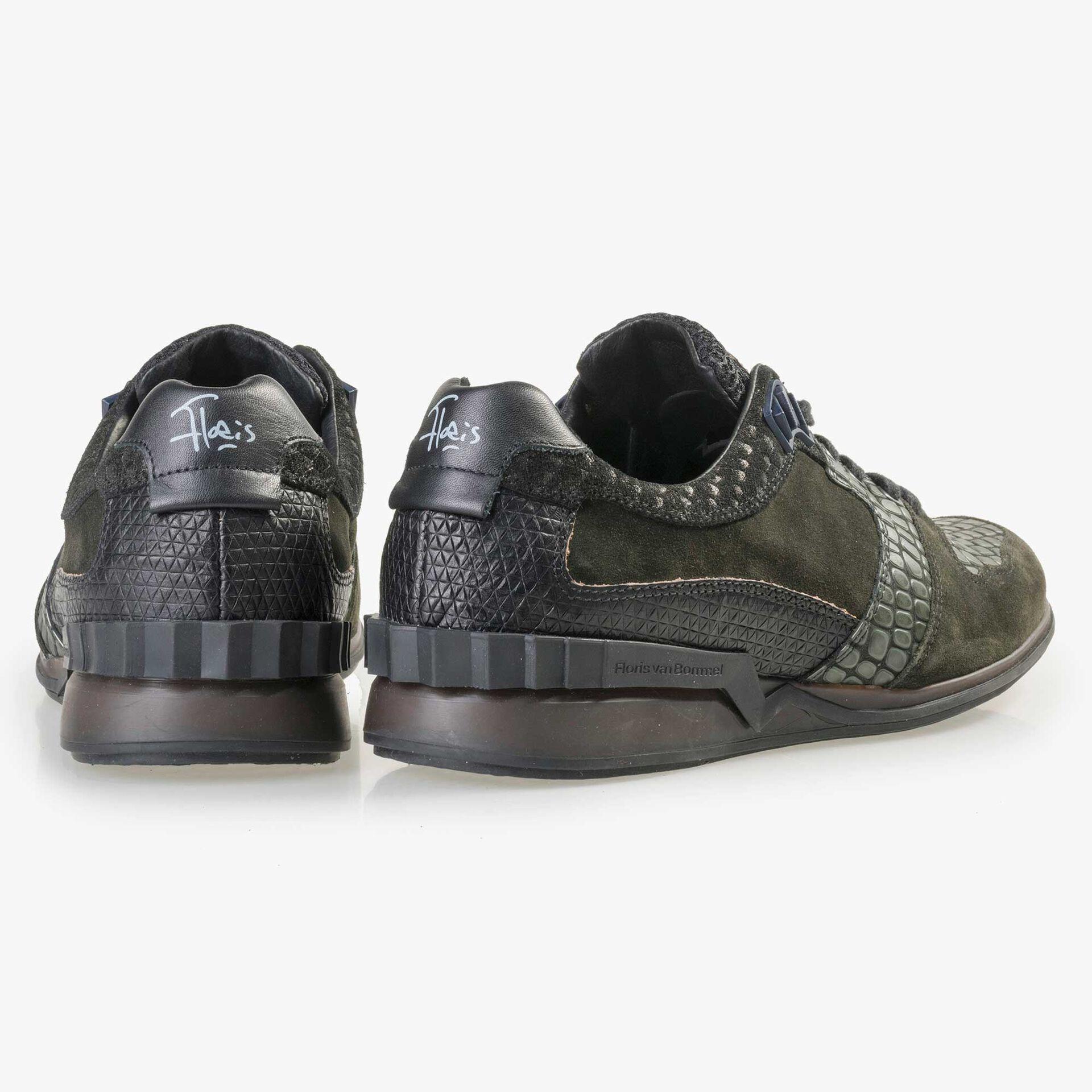 Floris van Bommel Premium olivgrüner Leder Sneaker