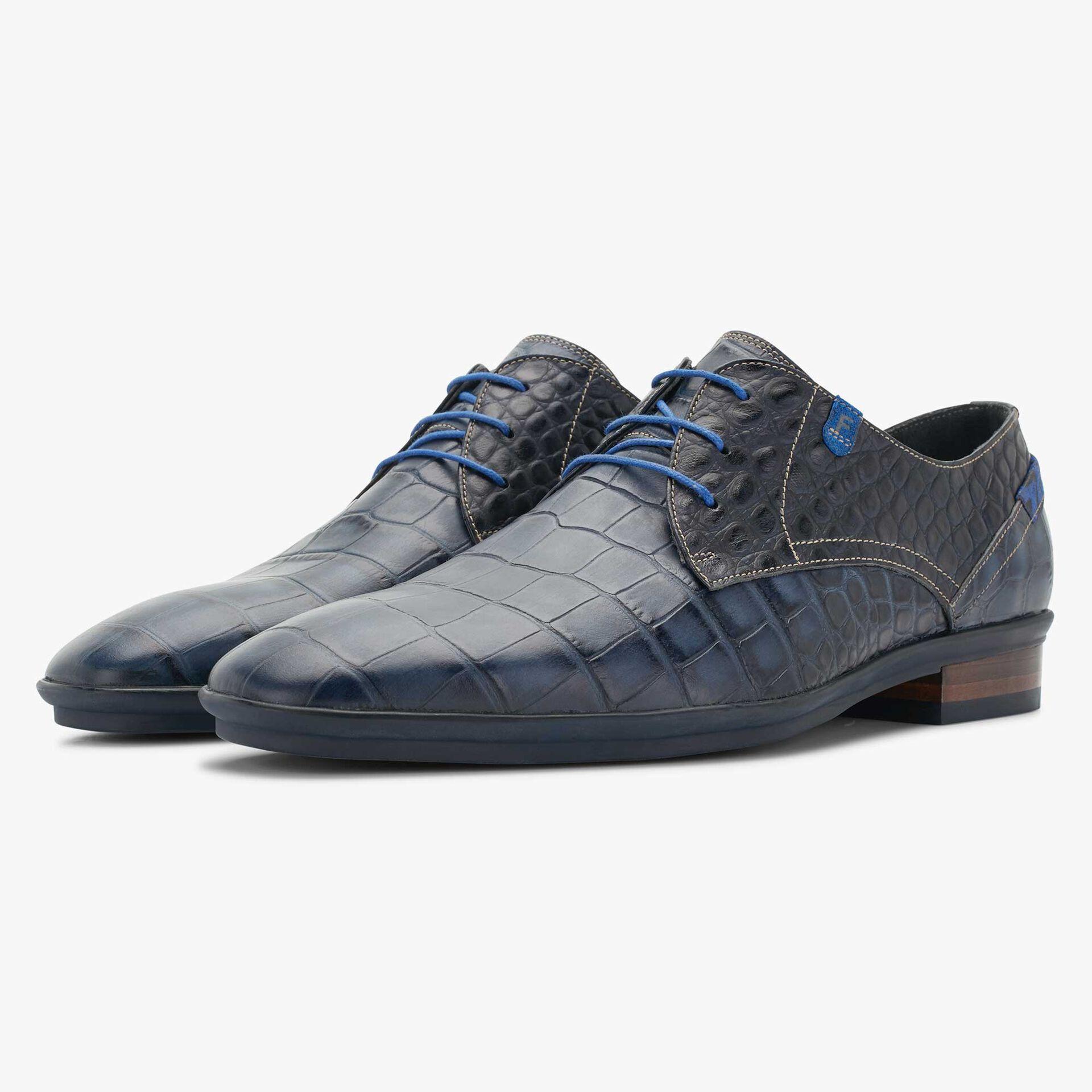 Floris van Bommel men's lace shoe with dark blue crocodile print