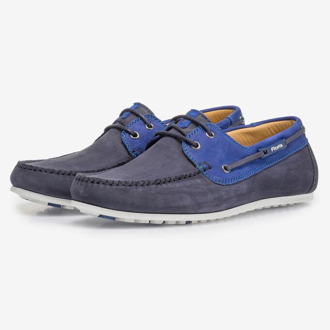 Blue nubuck leather boat shoe