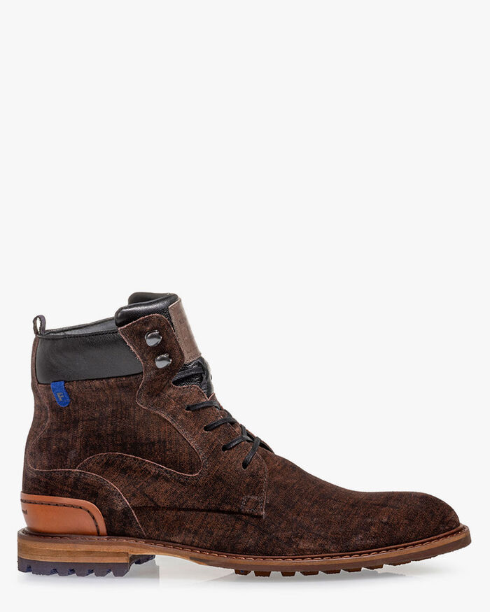 Lace boot suede cognac