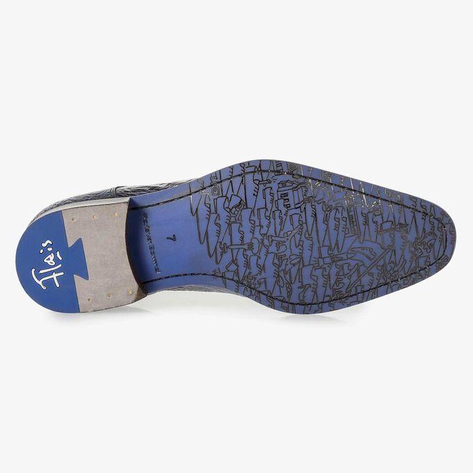 Dunkelblauer Premium Lackleder-Schnürschuh mit Print
