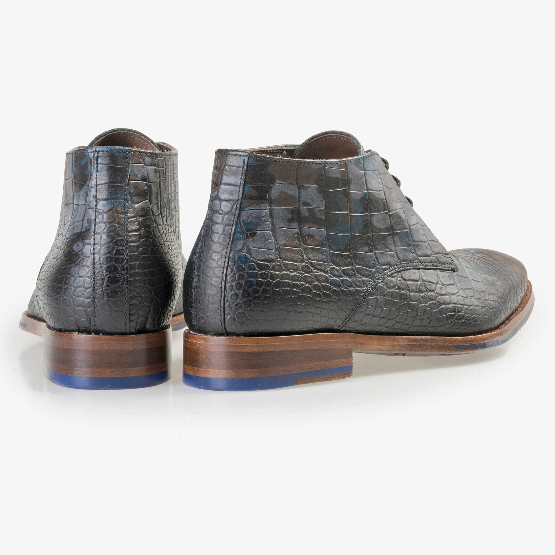 Floris van Bommel Premium men's blue croco print lace boot