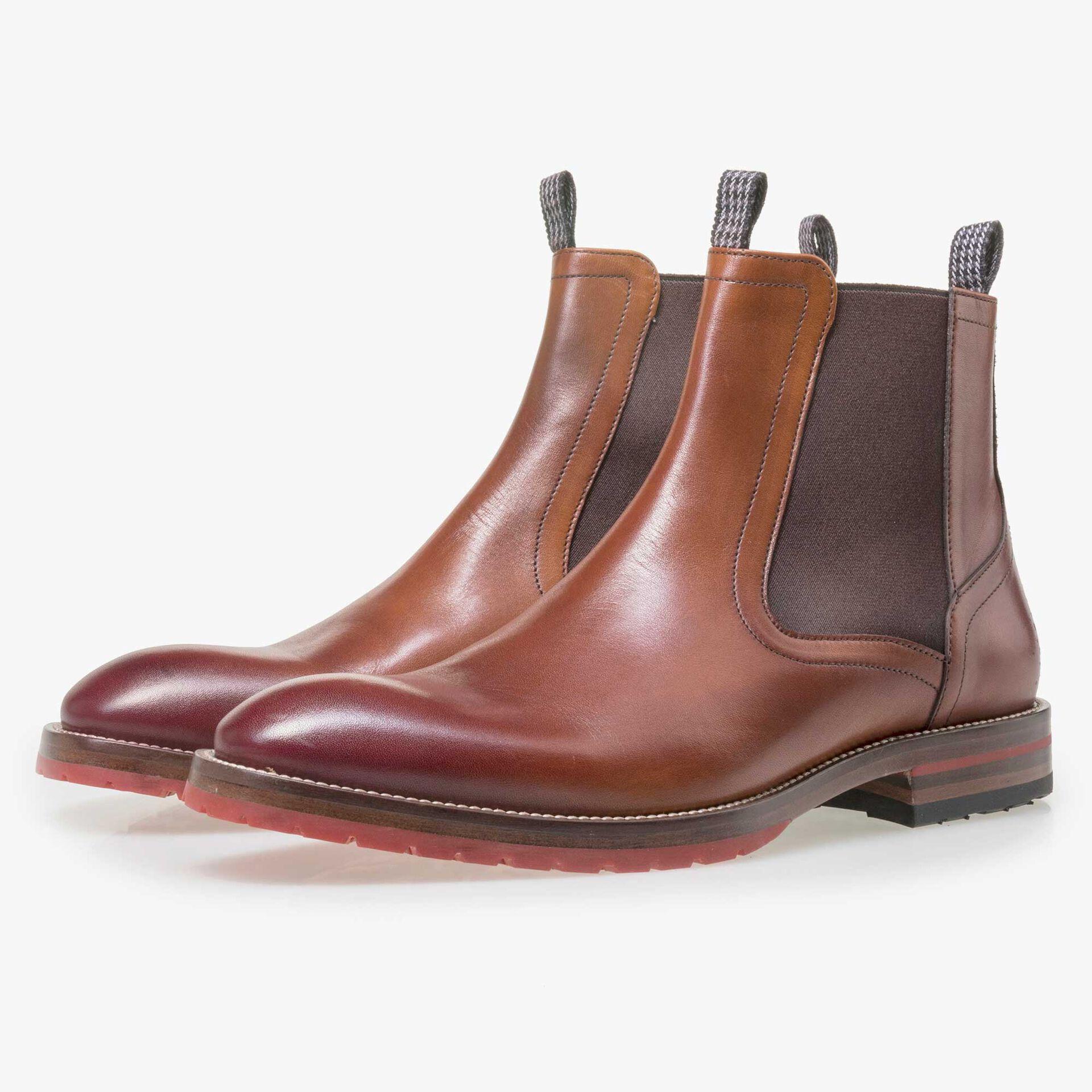 Floris van Bommel cognacfarbener Herren Leder Chelsea Boot