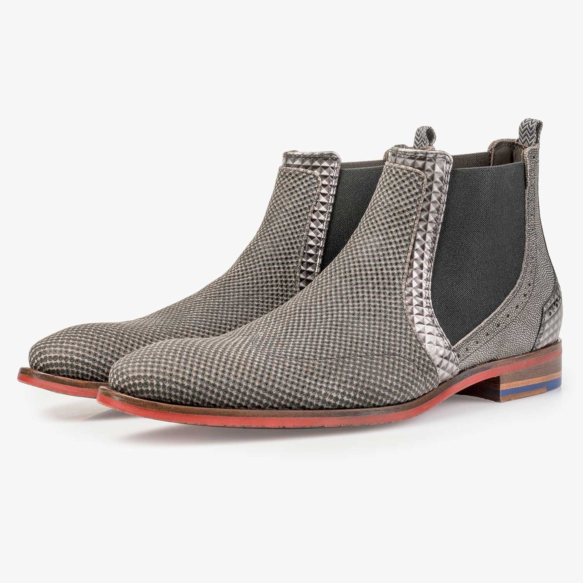 Taupe-coloured suede leather Chelsea boot with a mini print