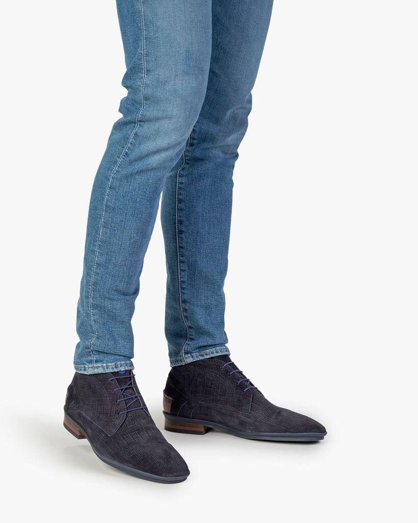 Stiefel mit Print Wildleder blau