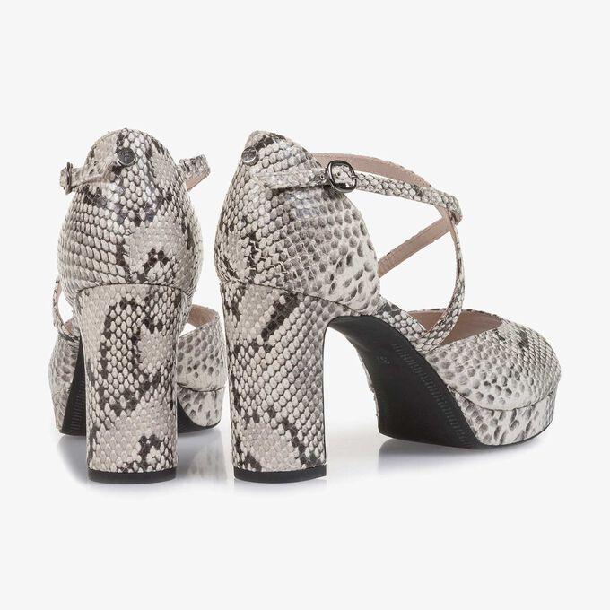 Weiße Leder-Sandalette mit Schlangenprint