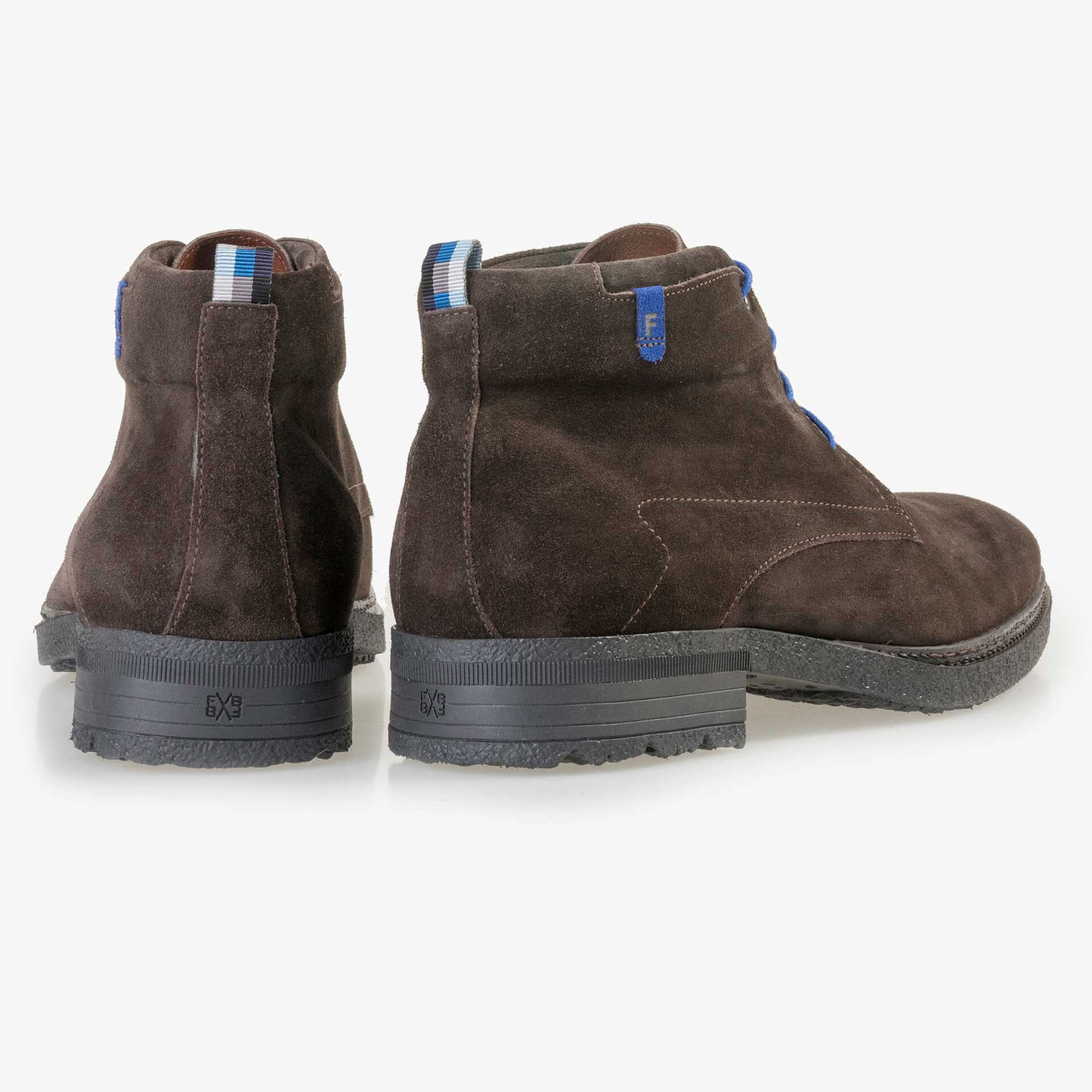 Floris van Bommel men's dark brown suede leather lace boot