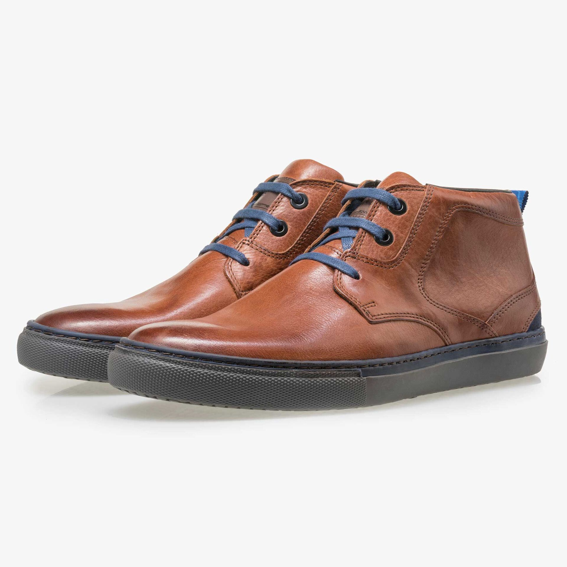 Floris van Bommel men's cognac-coloured leather lace boot