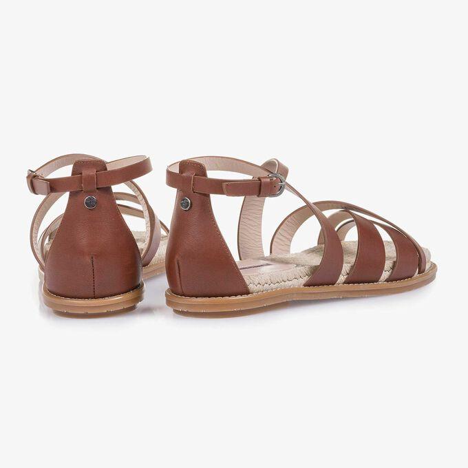 Cognacfarbene Leder-Sandale