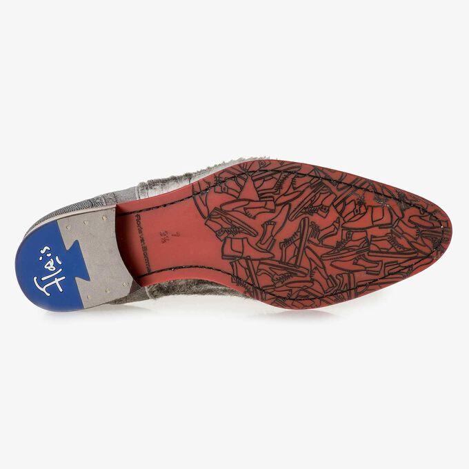 Cremeweißer Premium-Schnürschuh mit Print