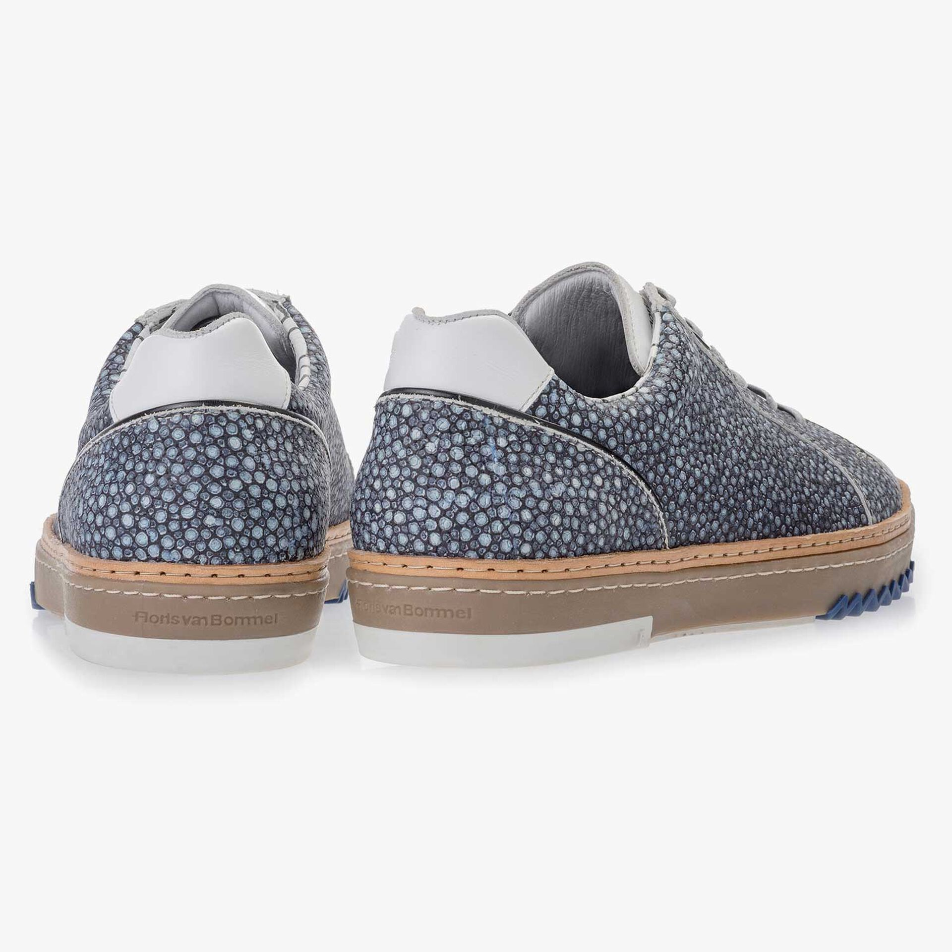 Blue, patterned leather sneaker
