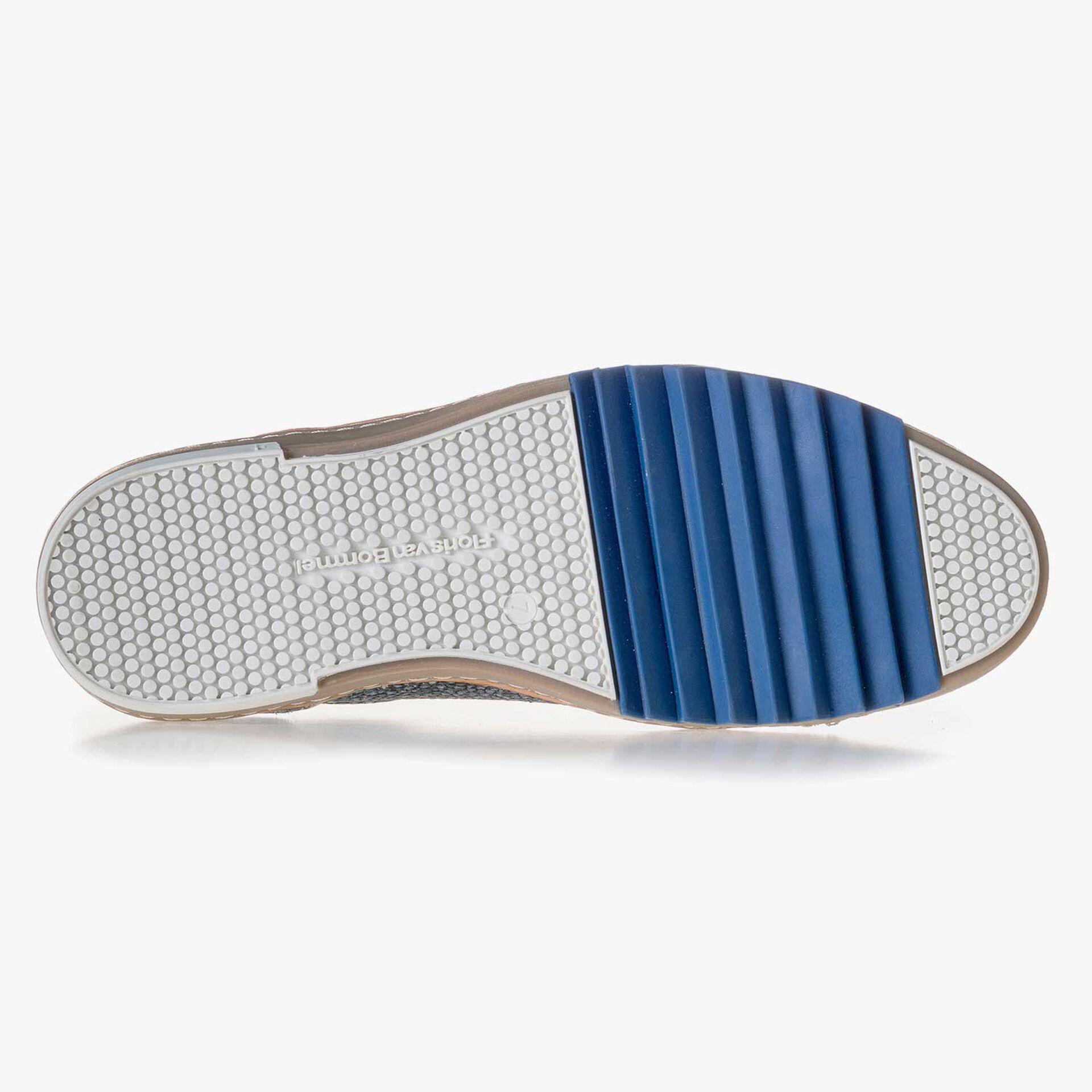 Blauer, gemusterter Leder Sneaker