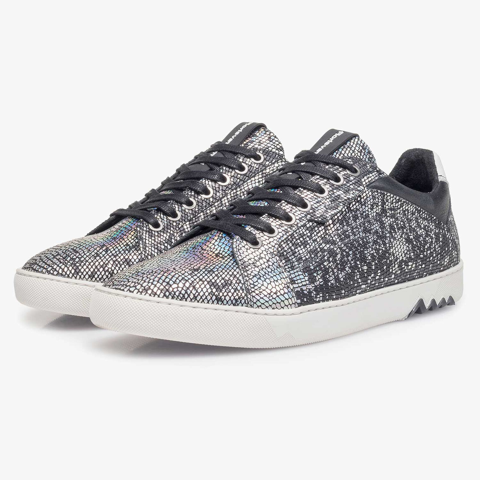 Silver-coloured premium leather lace shoe with metallic print