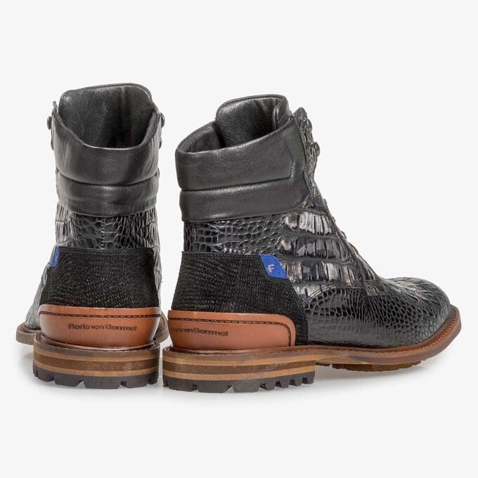 Black leather lace boot with croco print