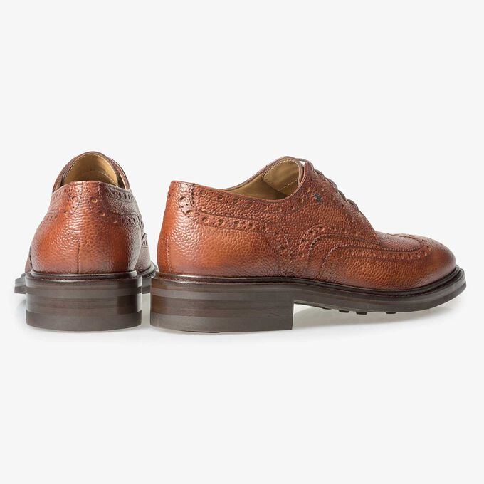 Cognac-coloured leather brogue lace shoe