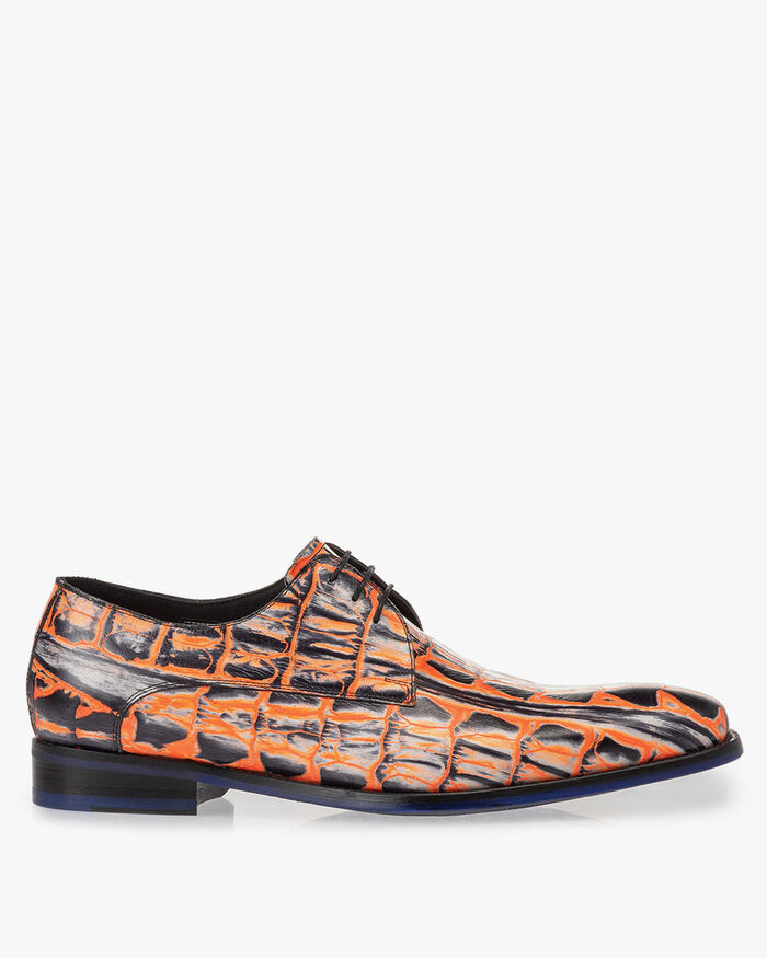 Lace shoe orange croco print