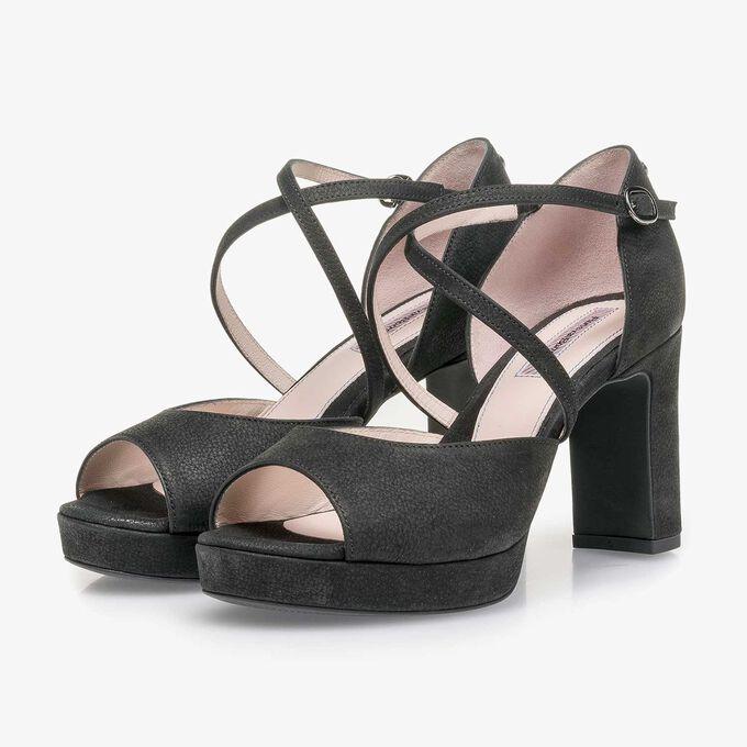 Schwarze fein strukturierte Nubukleder-Sandalette