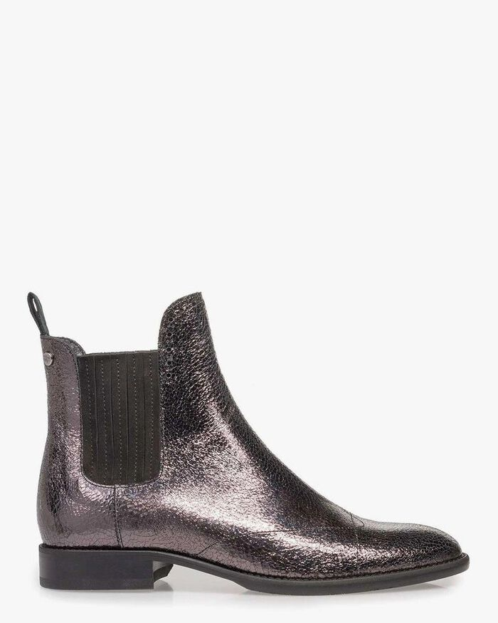 Silver-coloured Chelsea boot metallic print