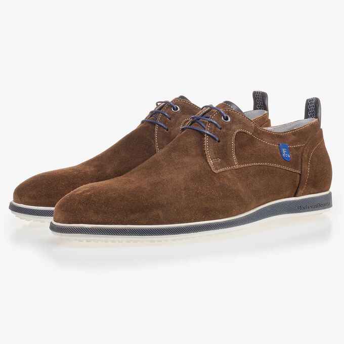 Brown suede leather lace shoe