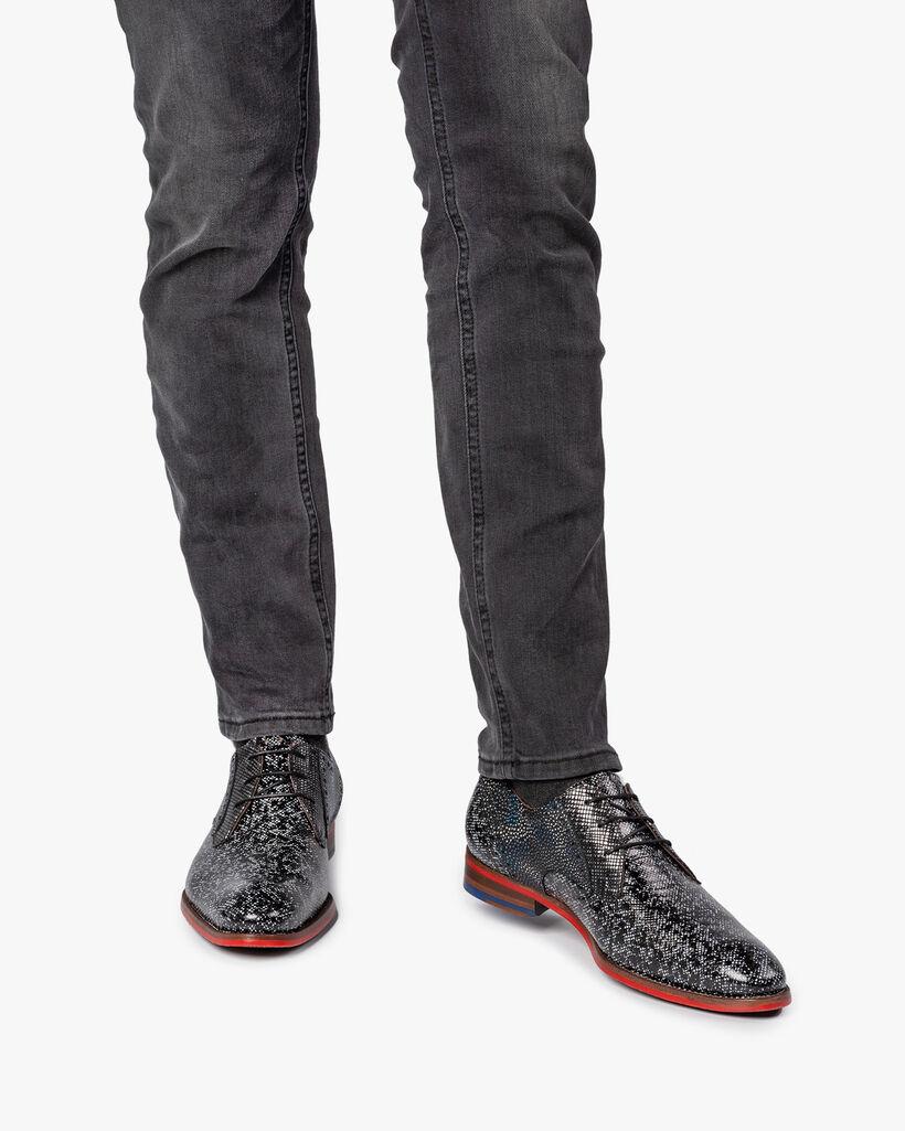 Schnürschuh schwarz/grau metallic