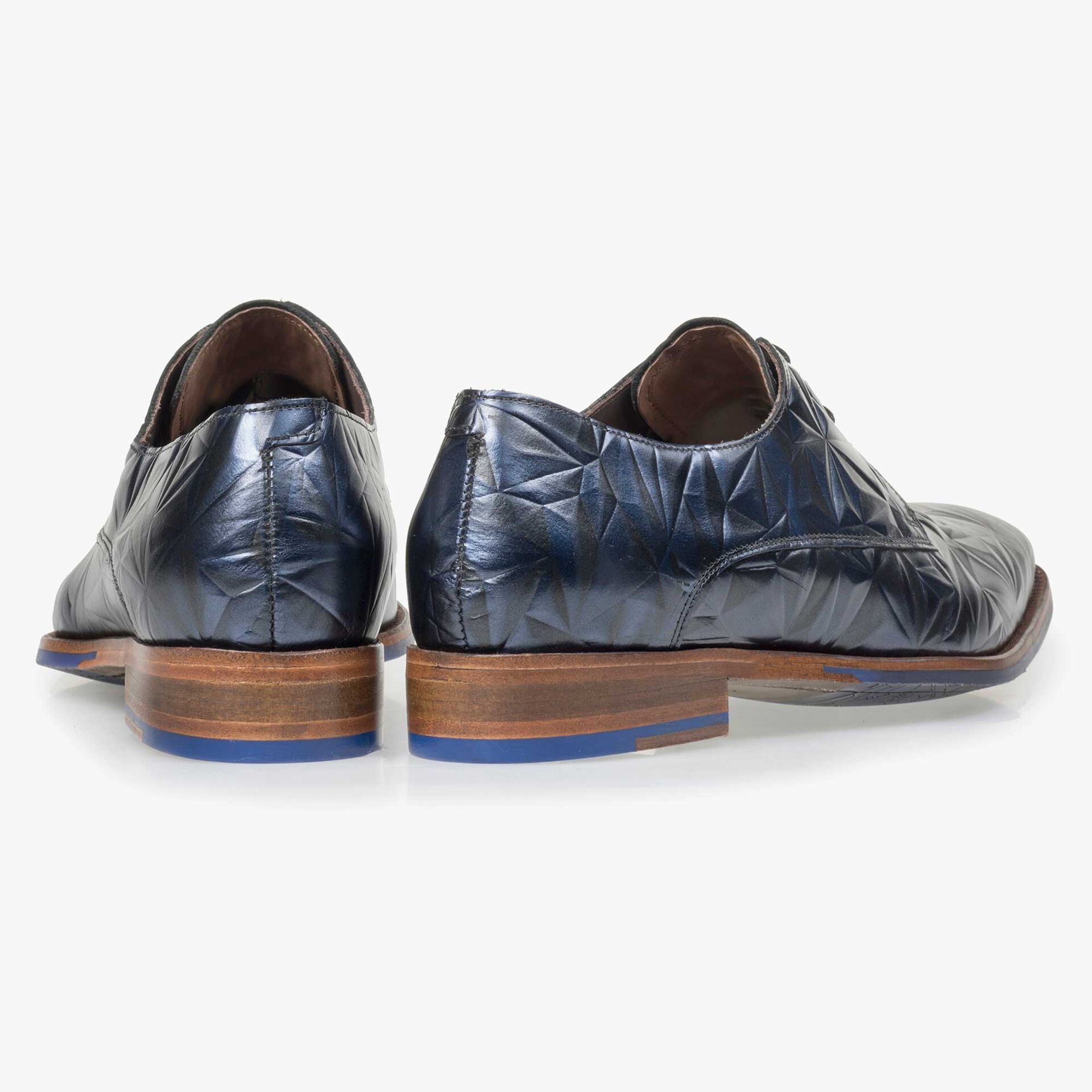 Floris van Bommel men's blue leather lace shoe finished with a black 3D print