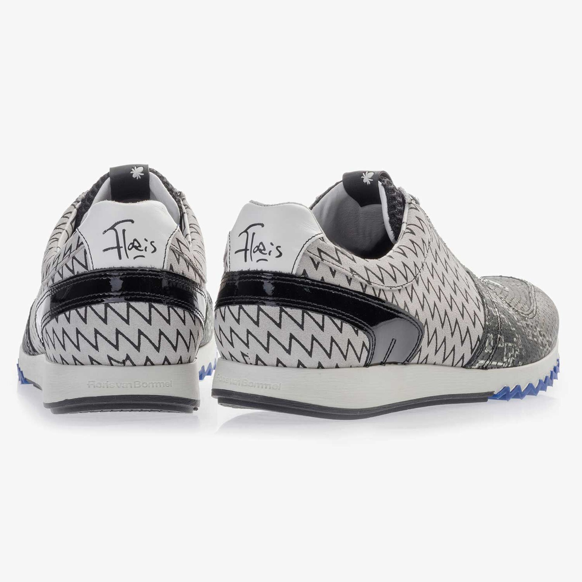 Grauer gemusterter Premium Leder Sneaker