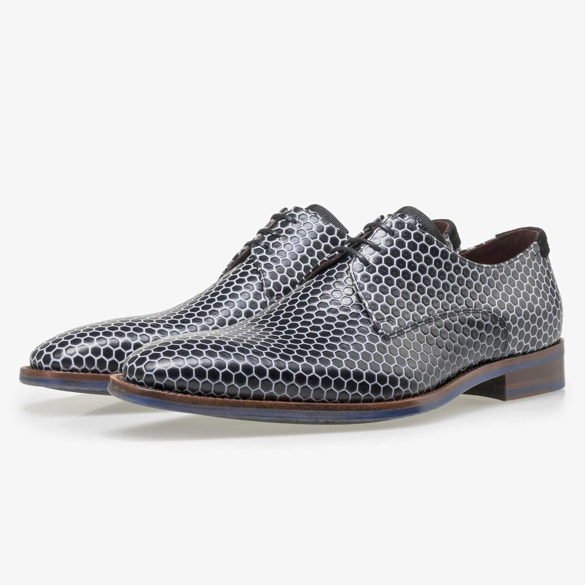 Floris van Bommel black calf's leather lace shoe finished with white hexagon print