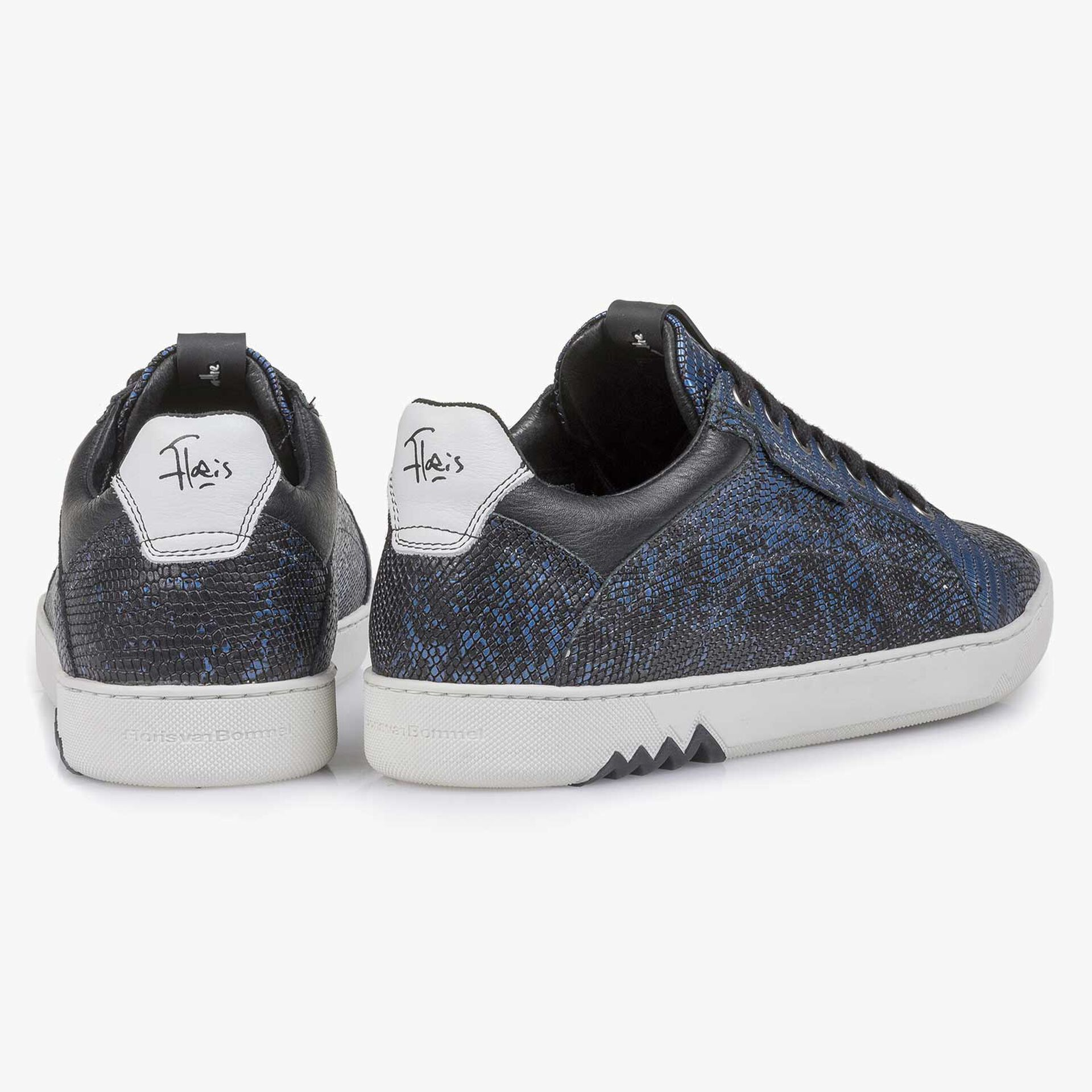Blauer Premium-Leder-Schnürschuh mit Metallicprint