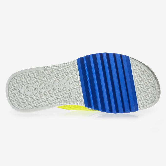 Gelber Wildleder Zehentrenner-Slipper mit Print