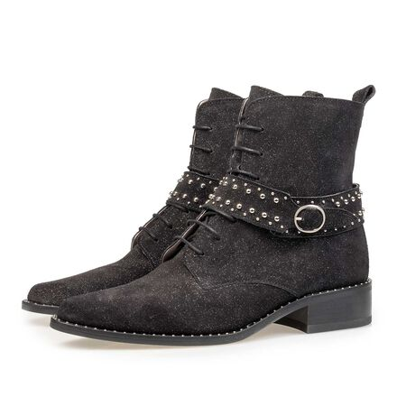 Black suede biker boot with glitter effect
