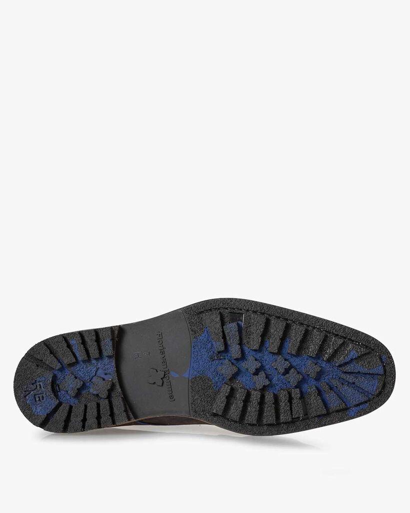Schnürstiefel Nubukleder dunkelblau