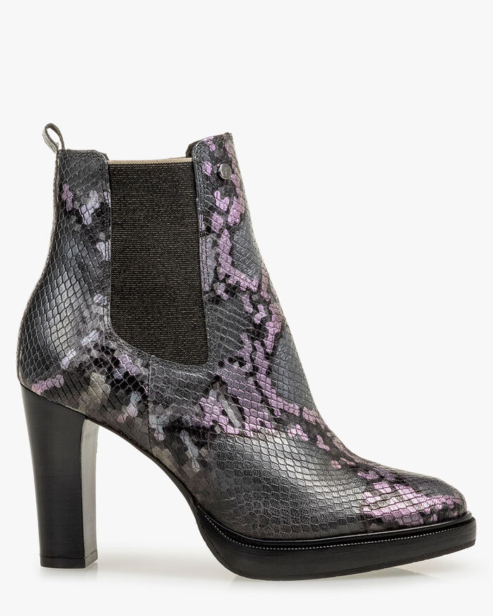 Chelsea Boot Reptilienprint grau