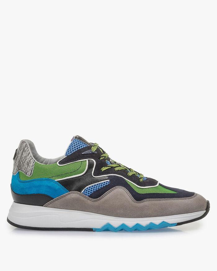 Mehrfarbiger Wildleder-Sneaker mit grünen Details