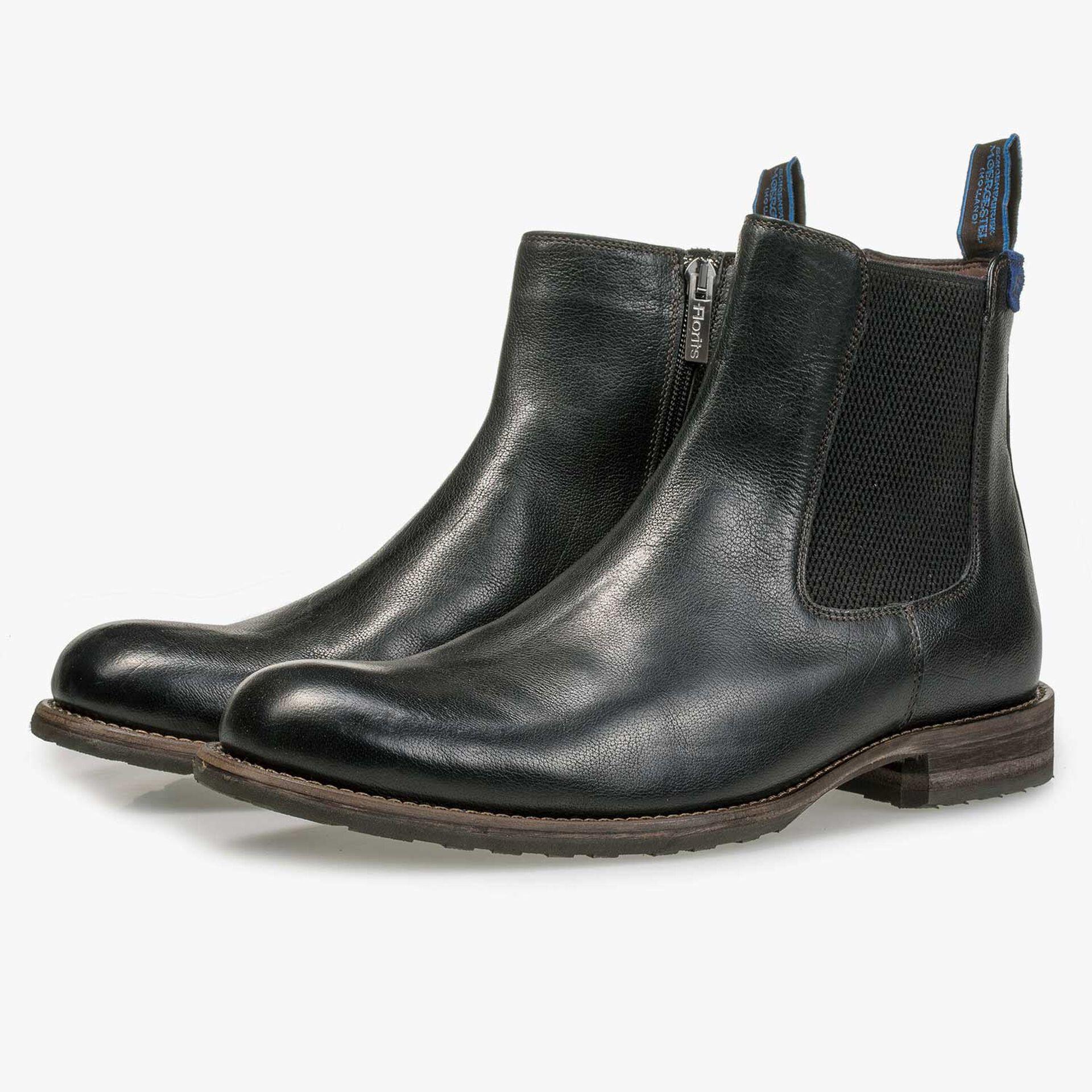 Wolle gefütterter schwarzer Chelsea Boot aus Leder