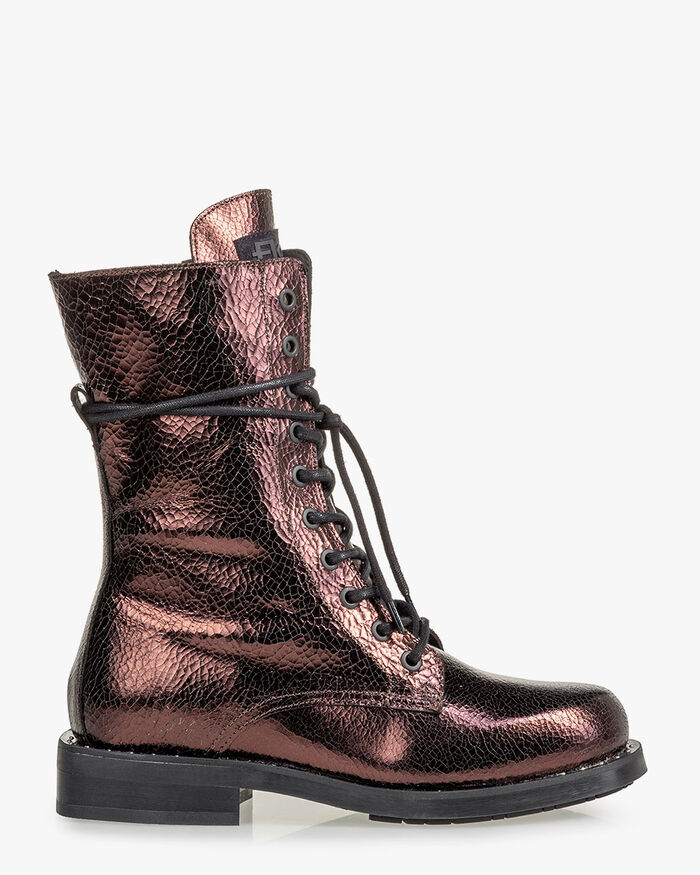 Lace boot leather dark brown