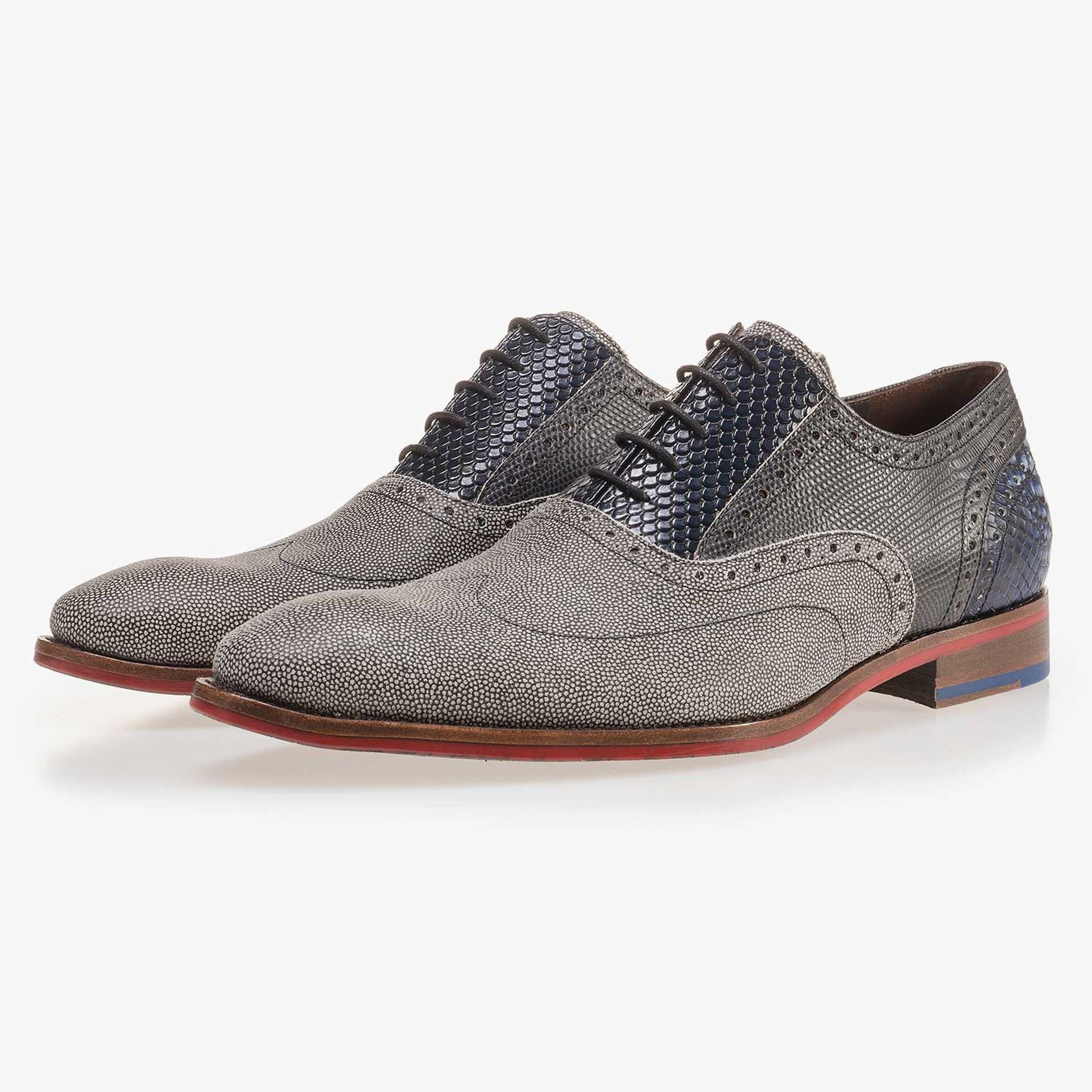Grey, patterned suede leather lace shoe