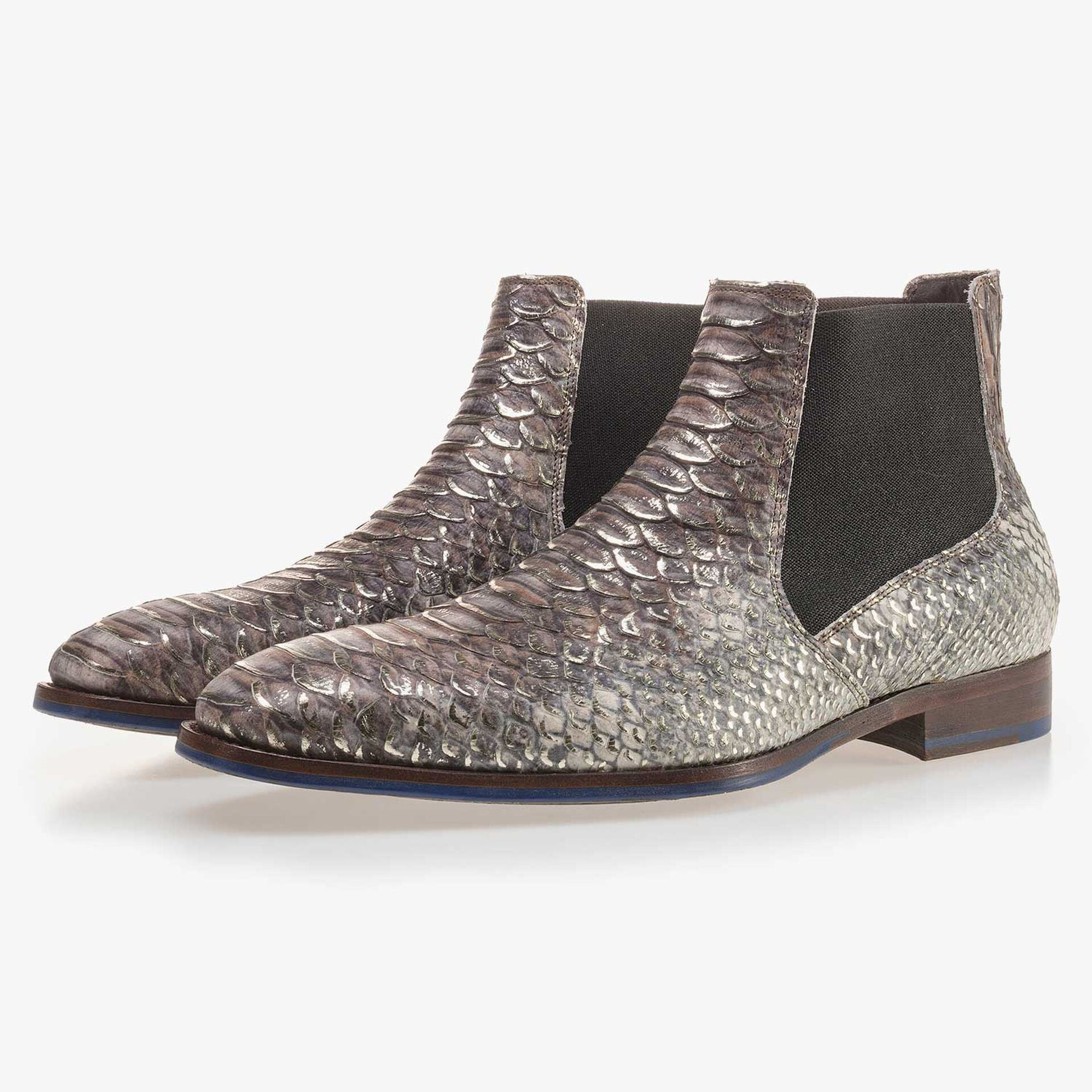 Taupe Premium Chelsea boot with a snake relief pattern