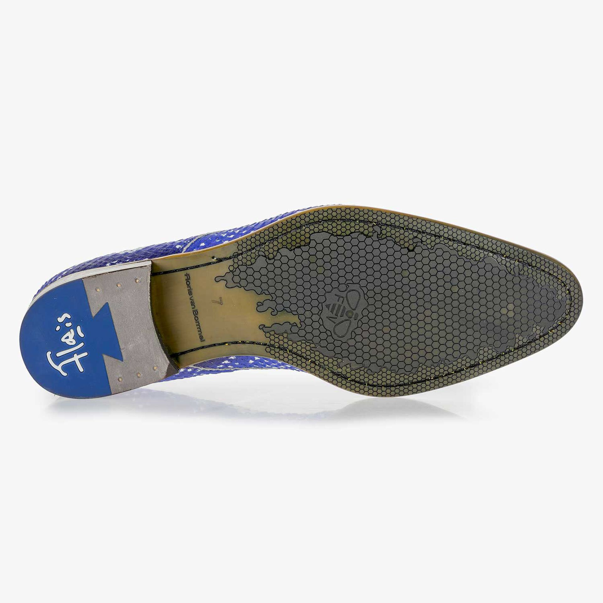 Blue leather lace-shoe with a snake print